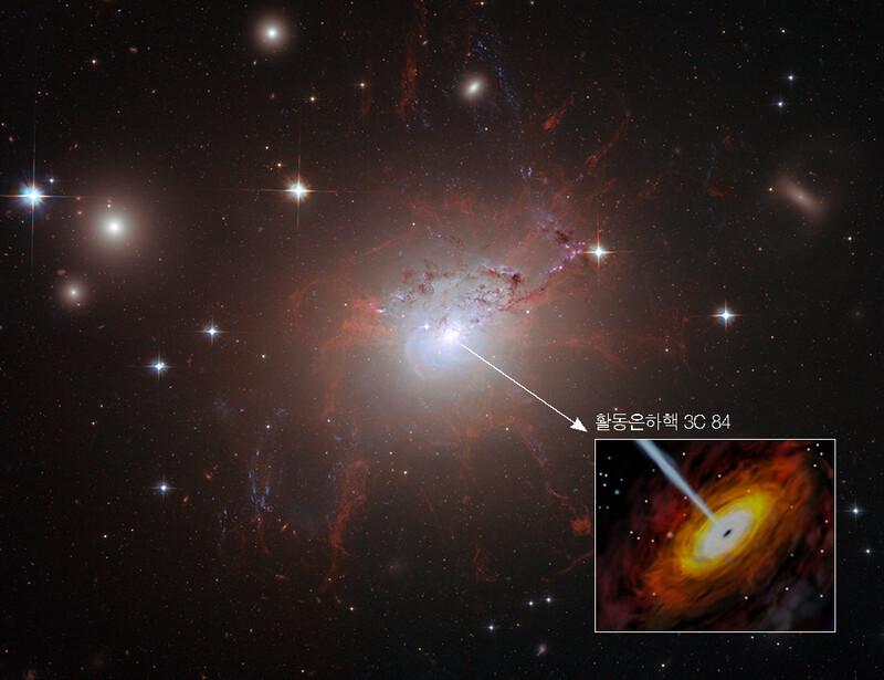 새로운 표준촛불 검증에 활용한 활동은하핵 '3C 84'를 포함하고 있는 은하 NGC 1275(페르세우스자리 A 은하). 한국천문연구원 제공