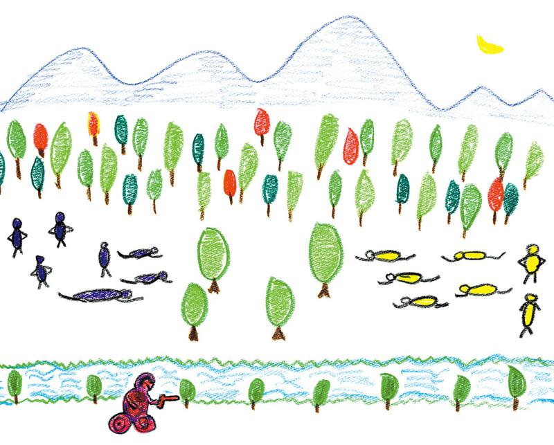 한광희씨가 '전쟁 놀이'를 했던 유년 시절을 떠올리며 그린 그림. 북극곰 제공