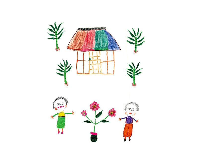 """양양금 할머니가 예전에 살던 집을 떠올리며 그린 그림. 가족 열두 명이 방 두 개에서 살았지만 """"아부지 어메도 꽃을 좋아해"""" 마당에는 코스모스를 심었다고 회상했다. 북극곰 제공"""
