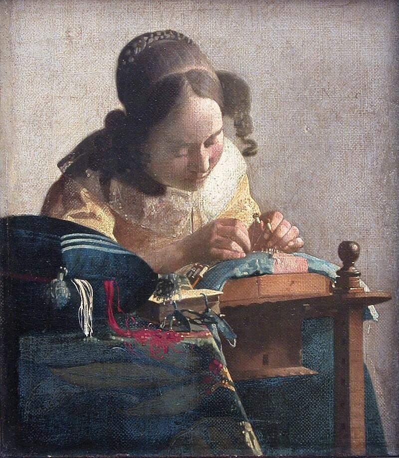 요하네스 페르메이르의 <레이스 뜨는 여인>(1699). 레이스는 17세기 유럽 왕실과 귀족사회에서 사치품으로 크게 유행했고, 수많은 여성이 레이스 뜨기로 자신과 가족의 생계를 유지했다. 윌북 제공.