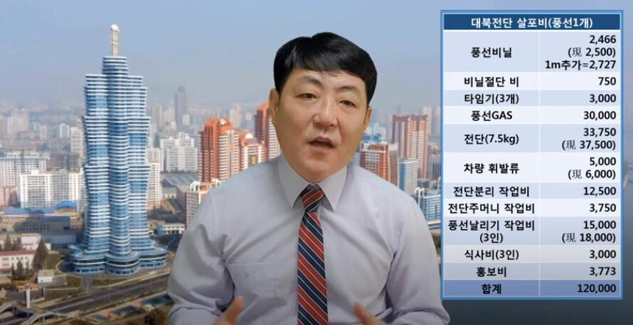 북한 국경경비대 초소장 출신 탈북민 홍강철씨가 15일 유튜브 채널 '왈가왈북'을 통해 대북 전단 살포에 드는 상세 비용을 공개했다. 유튜브 갈무리.