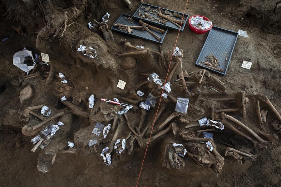 충남 아산 배방읍 설화산 민간인 학살 유해 발굴지에서 한국전쟁 당시 사망한 수십구의 유해가 발견됐다. 주용성 사진작가 제공