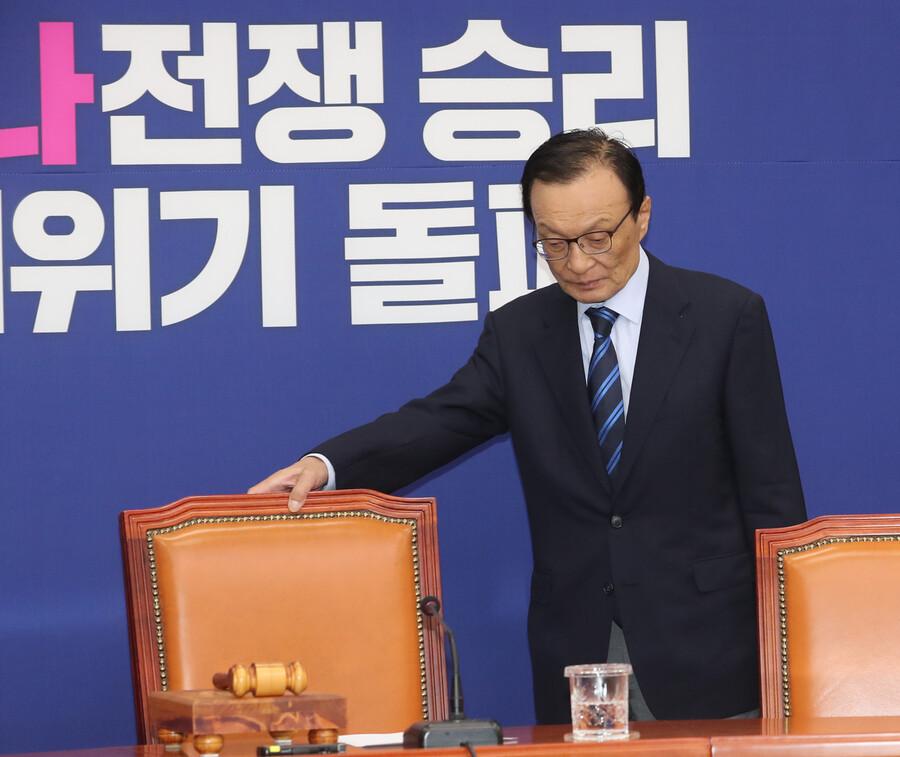 이해찬 더불어민주당 대표가 6일 오전 국회에서 열린 최고위원회의에 참석하고 있다. 강창광 선임기자 chang@hani.co.kr