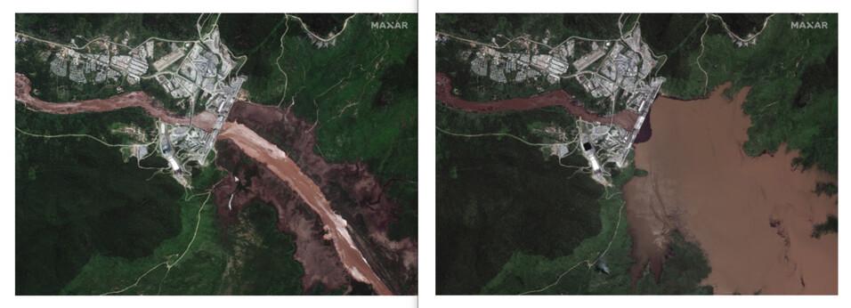 에티오피아 '그랜드 에티오피아 르네상스 댐'의 위성 사진. 지난달 26일 정상적으로 흐르던 나일강(왼쪽)이 담수가 시작된 뒤 강 상류에 강물이 차 있다(오른쪽). EPA 연합뉴스 ※ 이미지를 누르면 크게 볼 수 있습니다.