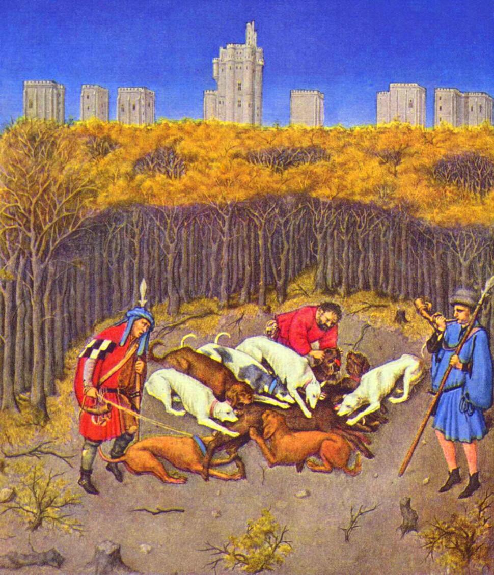 〈베리 공작의 호화 기도서〉에 나오는 '12월' 그림. 멀리 뒤로 뱅센성의 아성이 보인다. 위키미디어
