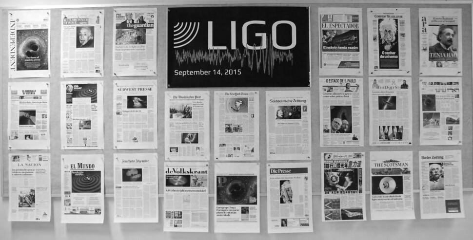 전 세계 신문의 1면들. 라이고 제공