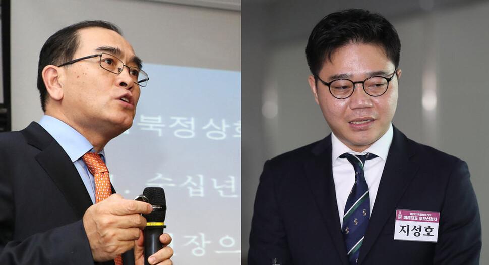 태영호 미래통합당 강남갑 당선자(왼쪽)와 지성호 미래한국당 비례대표 당선자. 연합뉴스