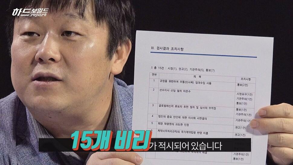 문화체육관광부가 3월6일 발표한 '스페셜올림픽코리아(에스오케이·SOK) 사무 검사' 결과, 한겨레TV 영상갈무리