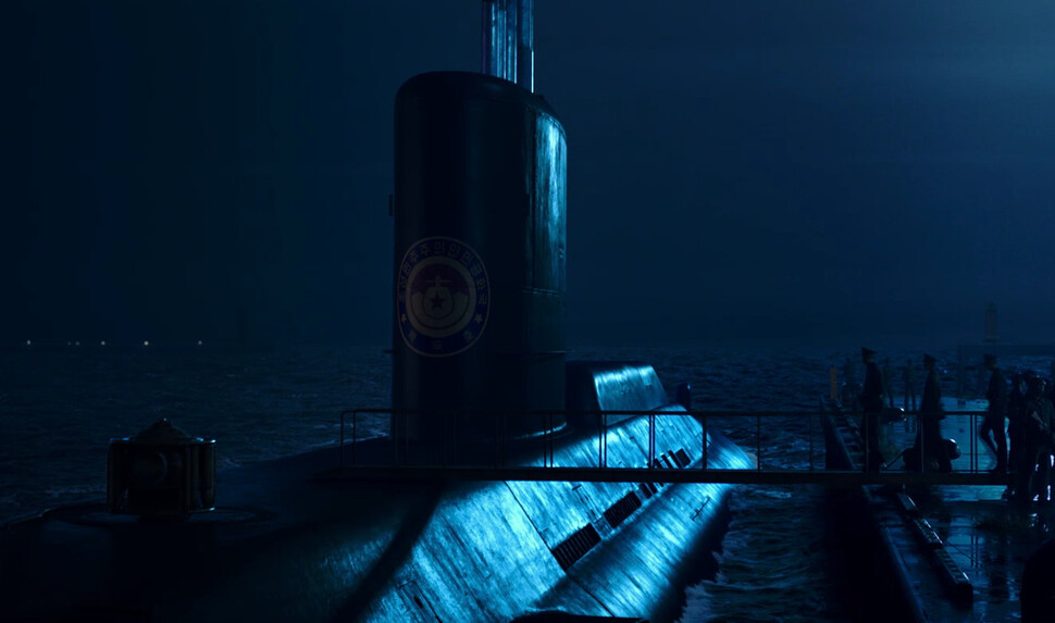 영화 <강철비2: 정상회담>에 등장한 북한 핵잠수함 백두호. 예고편 갈무리