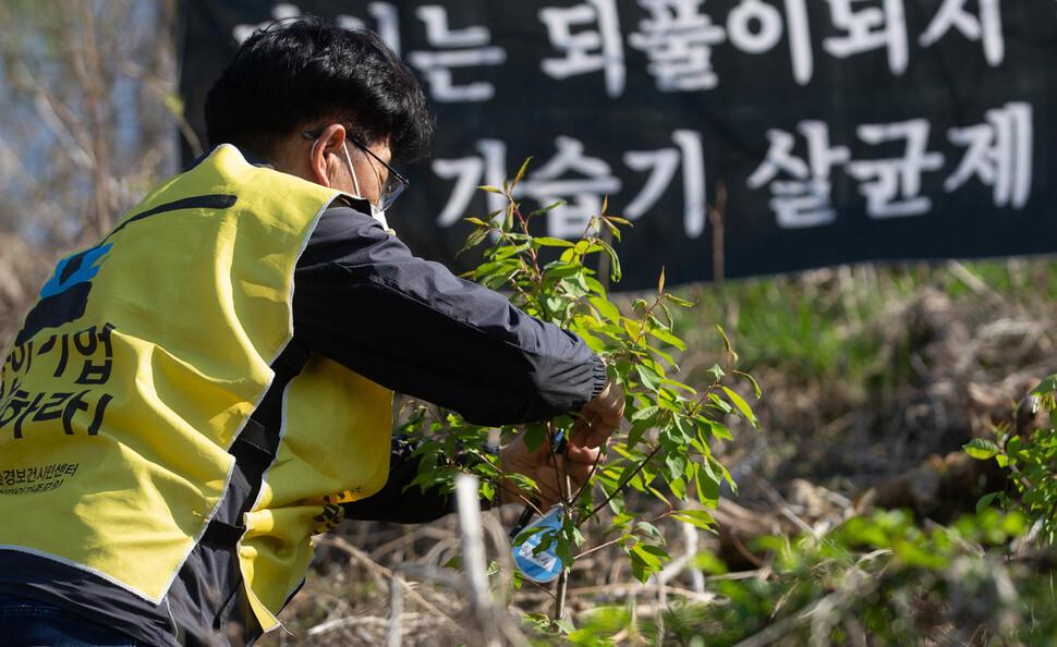 가습기살균제 피해자 유가족인 조병렬씨가 5일 오후 서울 마포구 노을공원 내 가습기살균제 피해자 '추모의 숲'에서 나무를 심고 이름표를 달고 있다. 공동취재사진