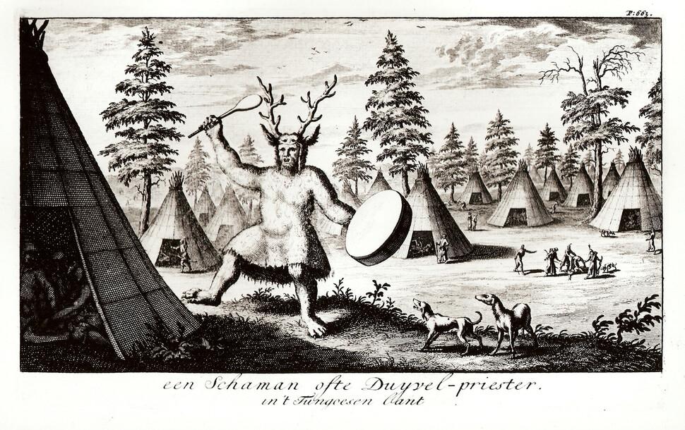 18세기 서양인이 본 시베리아 샤먼의 모습. 빗선의 <북동 타타르지>에서. 강인욱 제공