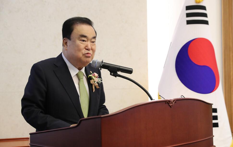 """문희상 의장 """"패스트트랙 재판 의원들 선처 바라"""""""