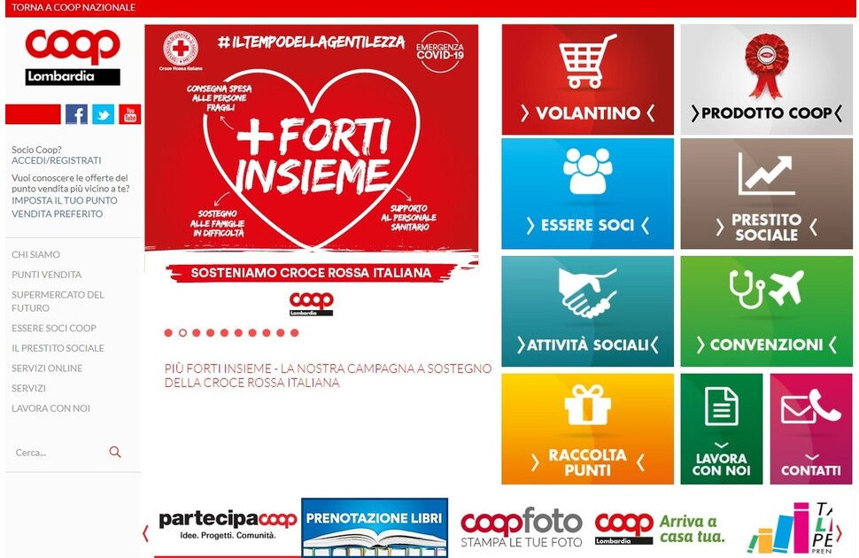 이탈리아 '롬바르디아 소비자생활협동조합'(Coop Lombardia)은 슈퍼마켓24와 협력해 65세 이상 시민들에게 식료품을 무료로 배달하고 있다. 사진은 '롬바르디아 소비자생활협동조합' 누리집 첫 화면.