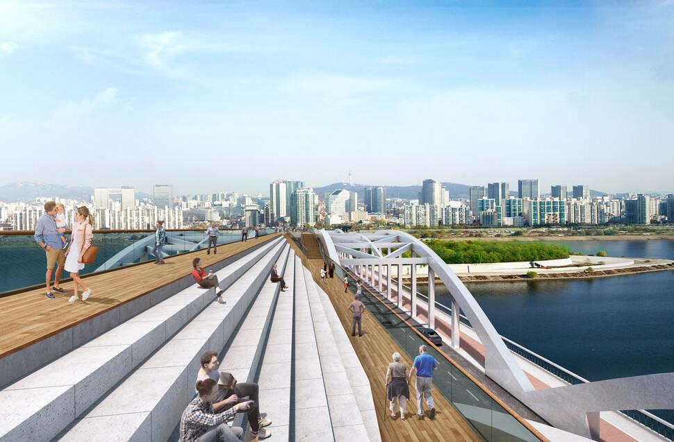 지난 7월 공모에서 당선된 노량진~노들섬 사이 보행교 설계 '투영된 풍경'의 계단 전망대. 서울시 제공