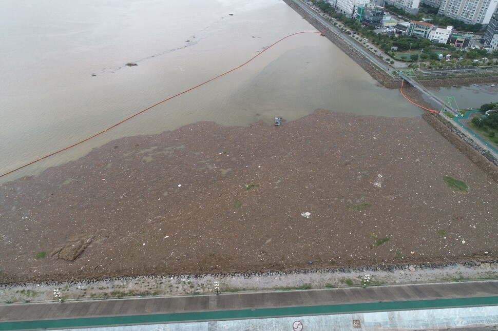10만㎡ 쓰레기 더미로 뒤덮인 목포항