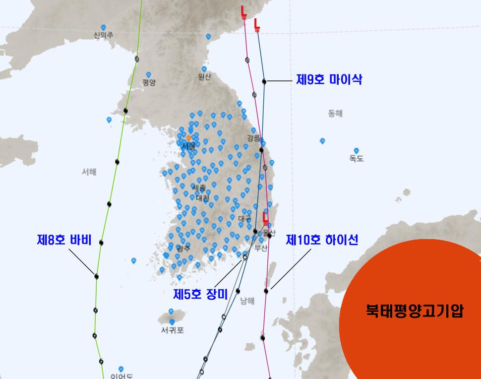 올해 우리나라에 영향을 준 '장미' '바비' '마이삭' '하이선' 등의 태풍들. 모두 경로가 남에서 북으로 북진하는 경향을 보였다. 기상청 국가태풍센터 제공