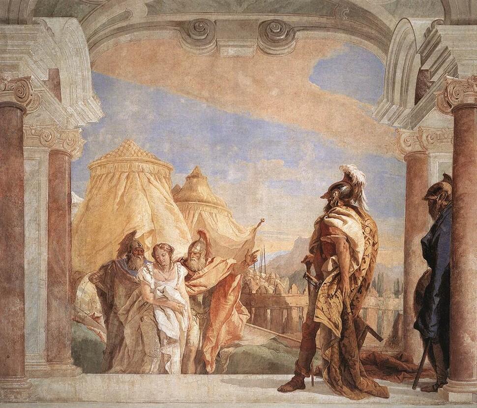 티에폴로, <아가멤논에게 끌려가는 브리세이스>, 1757년, 프레스코, 이탈리아 빌라발마라나.