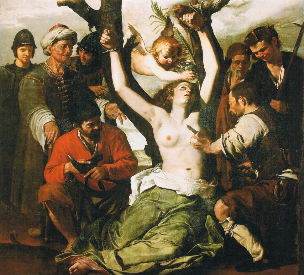 프란체스코 과리노, <성 아가타의 순교>, 1640년께, 캔버스에 유채, 이탈리아 솔로프라 성 아가타 성당 소장.
