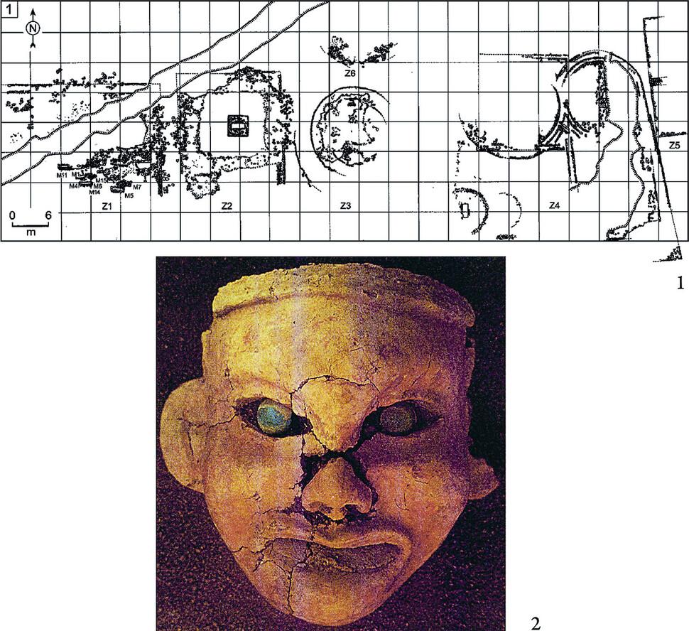 북중국 뉴허량에서 출토된 숭배 제의를 위한 구조물 평면도와 점토로 만든 안면상. 글항아리 제공