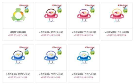 분홍색은 '여아용', 파란색은 '남아용'이라고 표기한 영아용 젖꼭지. 정치하는엄마들 제공