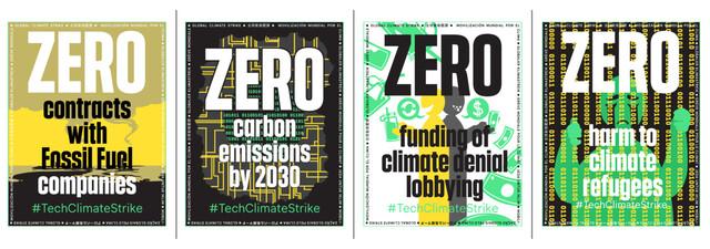 빅테크 산업 종사자들의 연대모임인 '기술노동자연합'은 2030년까지 탄소배출 제로, 화석연료기업과 거래 중지, 반기후위기 활동에 자금 지원 중지 등을 기업과 산업에 요구하고 있다. 기술노동자연합 누리집 포스터