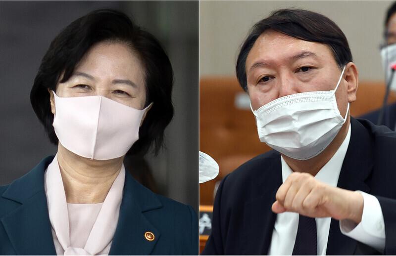 추미애 법무부 장관 (왼쪽)과 윤석열 검사.  & lt;  한겨레 & gt;  실제 사진