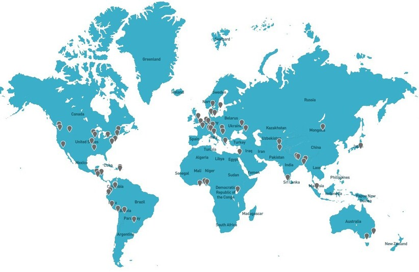 2021년 6월 현재 GABV 65개 은행 분포 지도. 자료: gabv.org