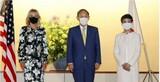 初の単独外交で訪日のジル米大統領夫人、日本で「最高クラス」の特別待遇