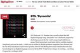 BTS「ダイナマイト」、ローリングストーン誌「歴代最高の500曲」の1曲に